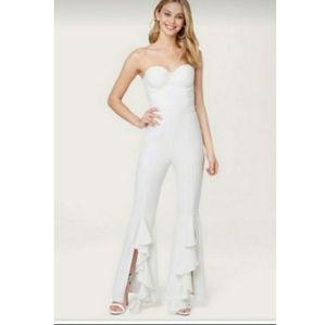 Bebe Ruffle Split Leg Jumpsuit White Color